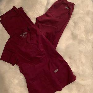 Greys anatomy wine burgundy scrubs set XXS